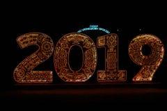 Colorido conduziu os numerais claros que descrevem o ano novo imagens de stock
