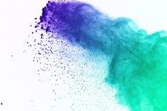 Colorido da explosão do pó no fundo branco Pó colorido Imagens de Stock Royalty Free