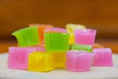 Colorido da geleia friável da sobremesa tailandesa Fotos de Stock Royalty Free