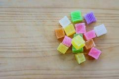 Colorido da geleia friável da sobremesa tailandesa, doce Imagem de Stock