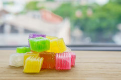 Colorido da geleia friável da sobremesa tailandesa, doce Fotos de Stock