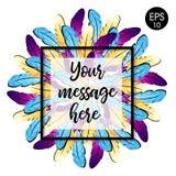 ` Colorido das penas no círculo O vetor empluma-se o fundo Fotografia de Stock Royalty Free