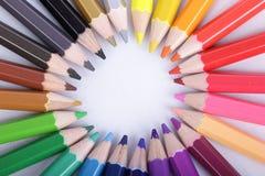 Colorido de los lápices en el concepto todos para uno Fotografía de archivo libre de regalías