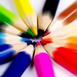 Colorido de los lápices en el concepto todos para uno Foto de archivo libre de regalías
