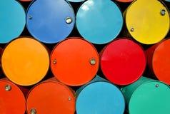 Colorido de los tanques de aceite viejos Imagen de archivo