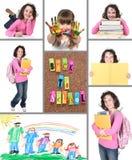 Colorido de nuevo al collage de la escuela Imagenes de archivo