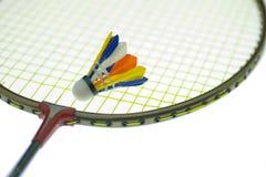 Colorido de shuttlecock en la raqueta Foto de archivo libre de regalías