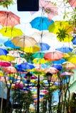 Colorido do guarda-chuva no parque do jardim fotografia de stock