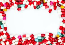 Colorido do quadro do retângulo dos comprimidos da cápsula dos antibióticos fotos de stock