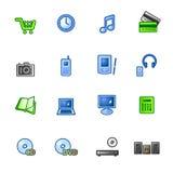 Colorido e-hacen compras los iconos Ilustración del Vector
