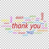 Colorido gracias en icono del vector de muchas idiomas Global agradezca y libre illustration