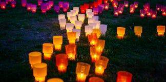 Colorido incandescer ilumina-se no parque em uma grama imagem de stock royalty free