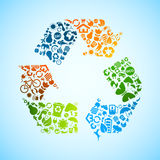 Colorido recicl ícones Fotografia de Stock