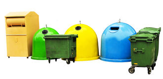 Colorido recicl escaninhos Imagem de Stock Royalty Free