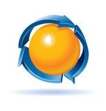 Colorido recicle el símbolo con la esfera adentro Imagen de archivo libre de regalías