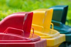 Colorido recicle los compartimientos Imagen de archivo