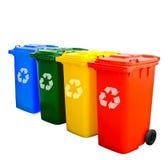 Colorido recicle los compartimientos aislados imágenes de archivo libres de regalías