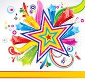 Coloridos abstractos estallan el fondo con la estrella Fotografía de archivo
