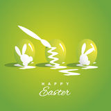 Colorindo três ovos da páscoa esverdeie o fundo ilustração stock