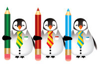 Coloring in. Penguins with color pencil ready for a coloring in Stock Images