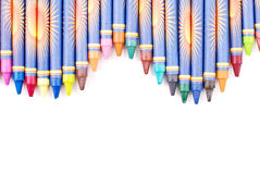 Coloring. Colorful Crayons In Top Border Curvy Formation Royalty Free Stock Photo