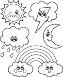 Cute set of cartoon weather icons, vector black and white icons, illustrations for children`s coloring or creativity. Cute set of cartoon weather icons, vector stock illustration