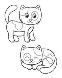 Cute set of cartoon cat, vector black and white illustrations for children`s coloring or creativity royalty free illustration