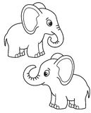 Cute set of cartoon elephant, vector black and white illustrations for children`s coloring or creativity. Cute set of cartoon elephant, vector black and white vector illustration