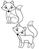 Cute set of cartoon fox, vector black and white illustrations for children`s coloring or creativity. Cute set of cartoon fox, vector black and white vector illustration
