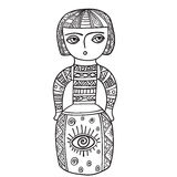 Coloring for adults. Ethnic statue, sculpture,doll with patterns. Print on t-shirt , tattoo.doodle, zentagl style. Coloring for adults. Ethnic statue, sculpture Stock Photography