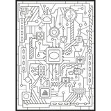 Coloring for adults. Modern technology woven into the computer board.Vector illustration. Coloring for adults. Modern technology woven into a computer board Royalty Free Stock Photography
