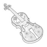 Coloring for adults violin vector illustration Royalty Free Stock Photography