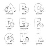 Coloring Alphabet for Kids. A to I Royalty Free Stock Image