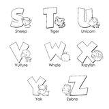 Coloring Alphabet for Kids. S to Z Royalty Free Stock Images