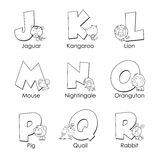 Coloring Alphabet for Kids. J to R Stock Photography