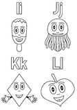 Coloring Alphabet for Kids [3]. Kindergarten alphabet, letters I, J, K and L (black and white version). Four cute cartoon drawings representing an ice cream, a vector illustration