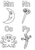 Coloring Alphabet for Kids [4]. Kindergarten alphabet, letters M, N, O and P (black and white version). Four cute cartoon drawings representing the moon, a nail royalty free illustration