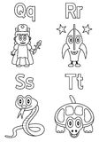 Coloring Alphabet for Kids [5]. Kindergarten alphabet, letters Q, R, S and T (black and white version). Four cute cartoon drawings representing a queen, a rocket Royalty Free Stock Photo