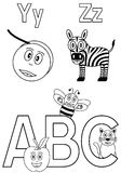 Coloring Alphabet for Kids [7]. Kindergarten alphabet, letters Y and Z with an ABC logo (black and white version). Two cute cartoon drawings representing a yo-yo vector illustration