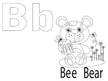 Coloring Alphabet for Kids,B. Bear,bee Royalty Free Stock Images