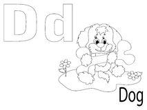 Coloring Alphabet for Kids,D. Dog Royalty Free Stock Photography