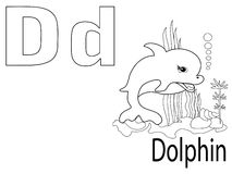 Coloring Alphabet for Kids,D. Dolphin Royalty Free Stock Images