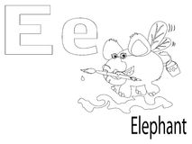 Coloring Alphabet for Kids,E. Elephant Royalty Free Stock Photography