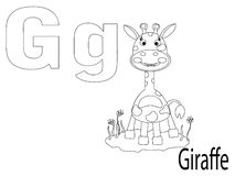 Coloring Alphabet for Kids,G. Giraffe Royalty Free Stock Image