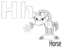 Coloring Alphabet for Kids,H. Horse Stock Image
