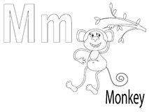 Coloring Alphabet for Kids,M. Coloring Alphabet for Kids M,monkey Royalty Free Stock Photography