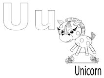 Coloring Alphabet for Kids,U. Unicorn Royalty Free Stock Photos