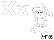 Coloring Alphabet for Kids,X. X-mas Royalty Free Stock Photography