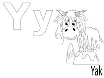 Coloring Alphabet for Kids,Y. Yak Royalty Free Stock Photos