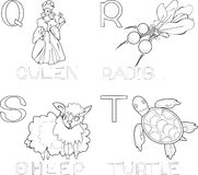 Coloring alphabet. With queen, radish, sheep and turtle Royalty Free Stock Photos